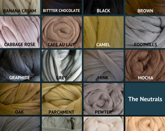 Merino Wool Roving - Felting Fiber - Spinning Fiber - The Neutrals - sold by the ounce