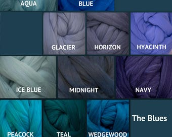Merino Wool Roving - Felting Fiber - Spinning Fiber - The Blues - sold by the ounce