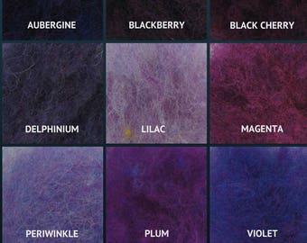 Harrisville Wool Fleece - The Purples - Wool Batt - Felting Fiber - Spinning Fiber - sold by the ounce