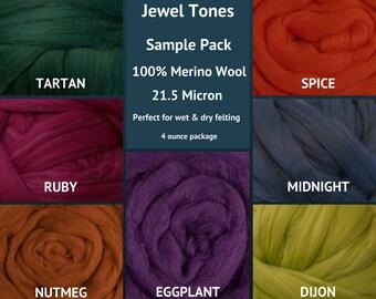 Merino Wool Roving Sample Packs - Felting Fiber - Spinning Fiber  - 4 ounce package