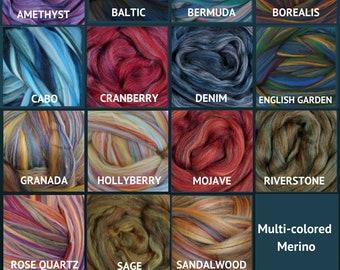 Multi-Colored Ashland Bay 1 Lb Premium Merino Combed Top Wool Roving Bulk Pound On Sale Hollyberry