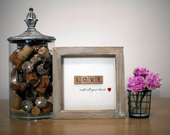 Classic 'Love' Quote Scrabble Frame with heart button
