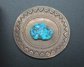 Elegant sterling and turquoise belt buckle by Ernest Bilagody