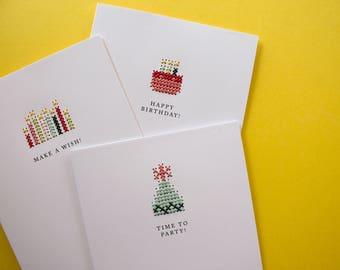 Hand-stitched Birthday Greeting Card