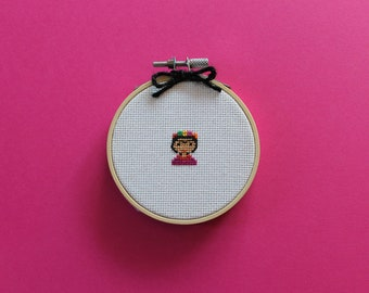 Tiny Frida | A cross stitch pattern PDF (instant download)