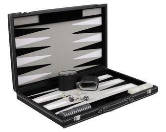 """Leather Range Backgammon Set """"graphene Grey""""- 15"""