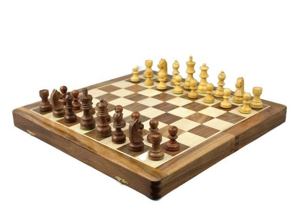 CHESS SET GAME 35.5CM BOARD /& PIECES KING SIZE 7.5CM SHEESHAM WOOD HAND CRAFTED