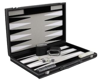 """Leather Range Backgammon Set """"graphene Grey""""- 18"""