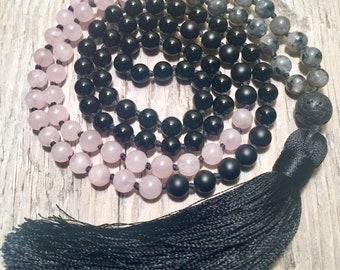 SELF LOVE Mala   Rose Quartz Mala Necklace   Labradorite Mala Beads   108 Mala Beads   Gemstone Mala   Tassel Mala   Meditation Beads   Mala