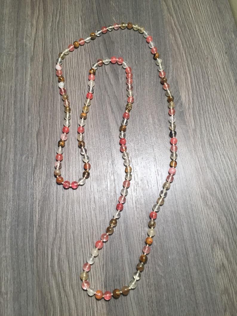 Quartz Beaded Necklace Gemstone Meditation Yoga Mala Necklace Watermelon Quartz Gemstone Beaded Buddha Necklace