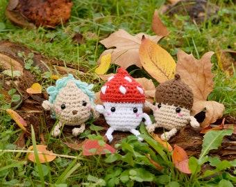 Pack 3 autumn crochet pattern in english. Autumn amigurumis. Amigurumi mushroom, acorn and hedgehog. Kawaii crochet.