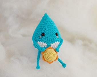 Villumis. Patrón amigurumi gota de lluvia. Patrón muñeco ganchillo. Patrón sonajero ganchillo. Amigurumi patrón. Patrón regalo bebé crochet.