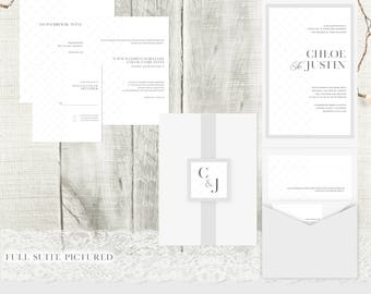 Heavenly Wedding Invitation Suite // Silver & Crystal Shimmer Paper Invitations // Delicate // Pocket Fold // Typographic // Personalised