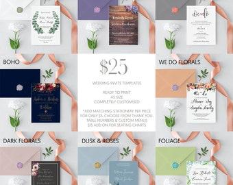 DIGITAL Wedding Invitation Templates | DIY Invitations | Ready to Print Invitations | Wedding Stationery Suites | Fully Customised Invites