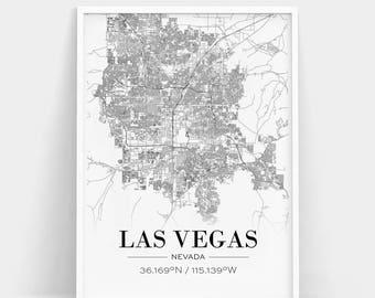 Las Vegas Map Poster Print Black and White | Etsy