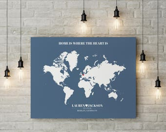 Watercolor world map poster go find yourself etsy home is where the heart is world map print wedding gift world map custom wedding gift newlywed gift personalized wedding gift gumiabroncs Gallery
