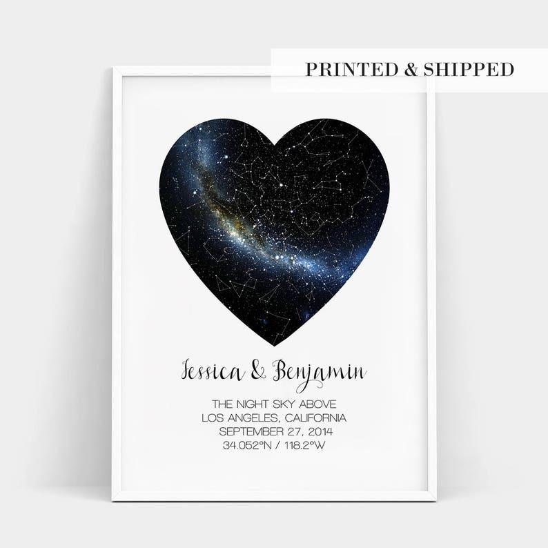 Heart Real Night Sky Print Constellation Star Map Custom Etsy