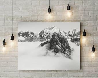 Mountain Print, Mountain Photography, Nature Prints, Mountain Wall Art, Nature Wall Art, Snow, Fog, Foggy Print, Minimalist Mountain Print