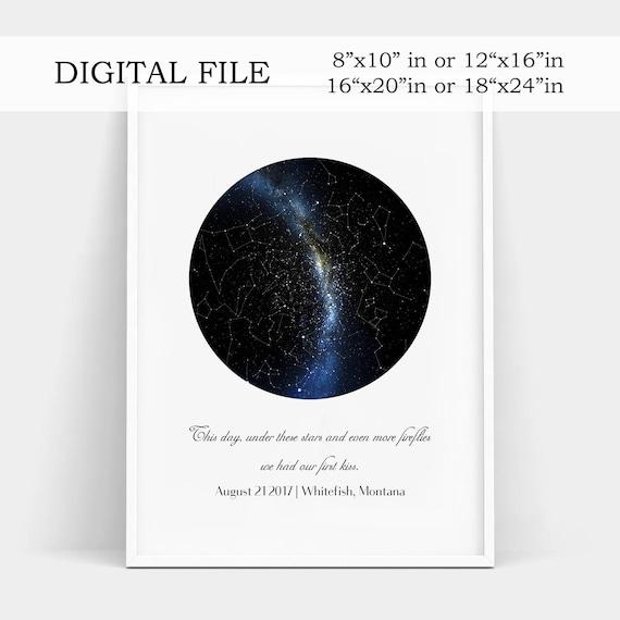 Constellation Map Digital Real Night Sky Custom Star Map Etsy