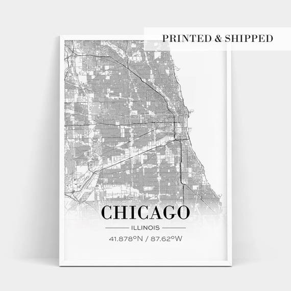 Chicago Map Poster Chicago Poster Chicago Map Print Chicagon Print Chicago Map | Etsy Chicago Map Poster