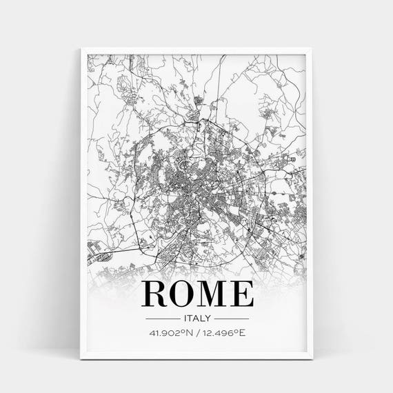 Rome Map Print, Rome Map Poster, Rome City Map, Italy Print, City Map  Print, Italy Poster, Roma,Italia, Live Room Print, Coordinates Poster