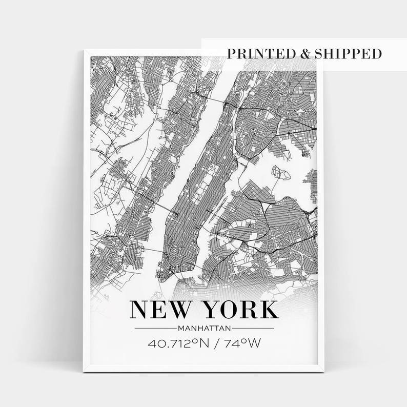 Map Of New York Poster.New York City Map Poster New York Poster New York Map Print New York City Map Print Street Map Print Live Room Print Printed Shipped