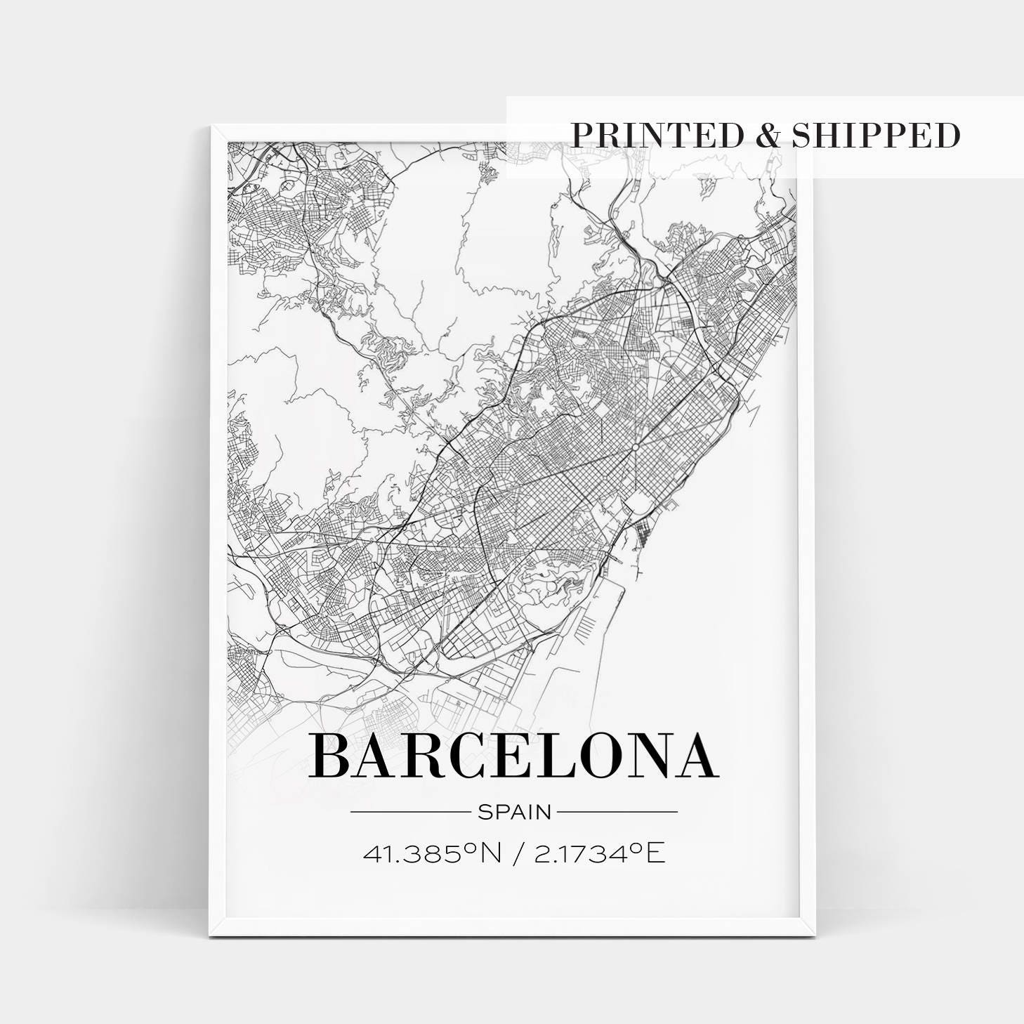 Barcelona In Spain Map.Barcelona Poster Barcelona Map Print Barcelona Spain Map Etsy