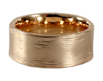 14K Gold Distress Men's Wedding Band, Custom Made