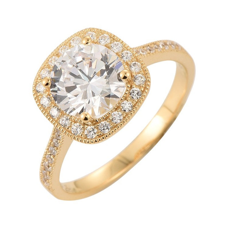 Round Cut Solitaire Gold Engagement Ring 14K Solid Gold Wedding Ring CZ Halo Ring Promise Ring  Proposal Ring Minimalist Ring