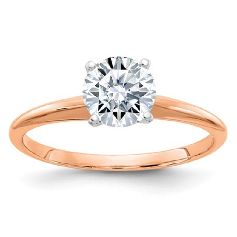 Engagement Ring Rose Gold Round Moissanite Ring PURE Light EF color Gold Diamond Ring Solitaire 14K Gold Ring Custom made Anniversary