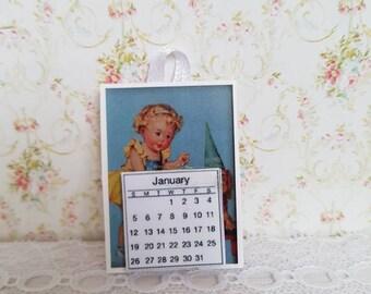 Dollhouse Miniature,Doll house Miniatures,Dollhouse wall Calendar,Miniature Vintage Poster,Dollhouse Vintage Signs,12th Scale,Shabby Cottage