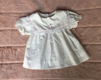 Vtg White Baby Dress with Embroidery Details on Bodice Charming Original Sleeves and Hem Made in Canada Size 12 Months Collar