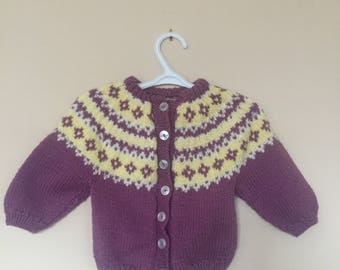 7a62a9870b3 Vtg Hand Knit Lopi Style   Fair Isle Style Baby Cardigan - Vintage Hand Knit  Sweater Cardigan for Child - Purple - Size 6 Months