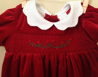 ff700f0bb114 Vtg Christmas Holiday Dress for Baby - Vintage Baby Girl Red Velvet Velour  Dress with Smocking on Bodice