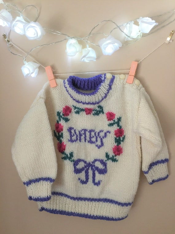 37b6b6368a84 Vintage Handknit Baby Sweater Knit Jumper for