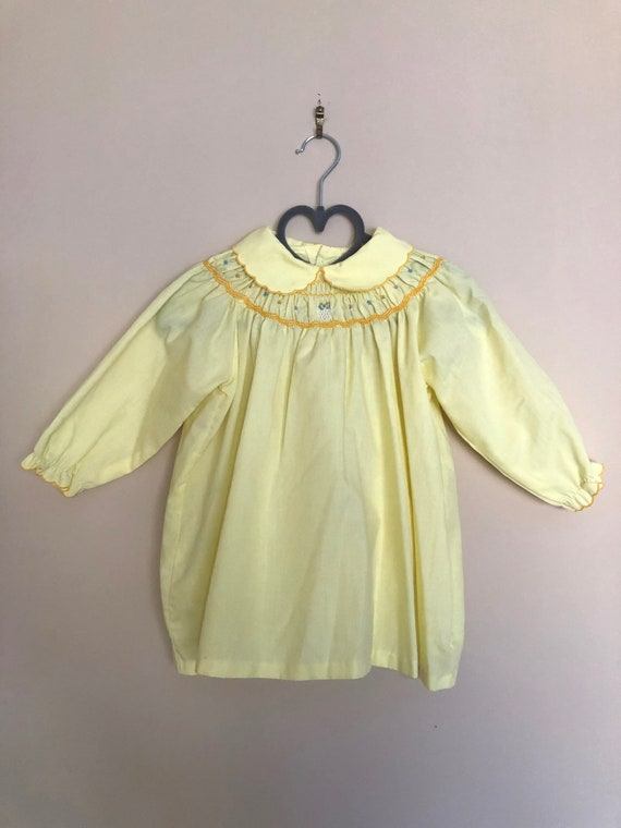 Vintage Smocked, Embroidered Yellow Dress for Baby