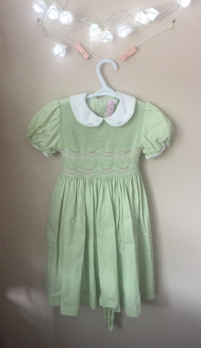 32348212bb55a Vintage Smocked Light Green Baby Dress Bois De Rose Brand   Etsy