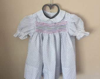 Vtg Lightly Rainbow Smocked Polka Dot Dress with Peter Pan Collar - Size Newborn