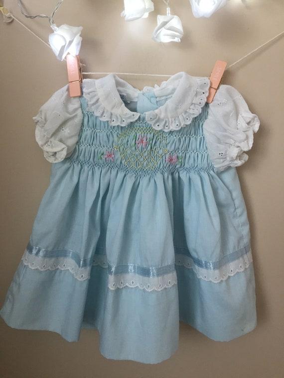 Vintage Polly Flinders Hand Smocked Baby Blue Dres