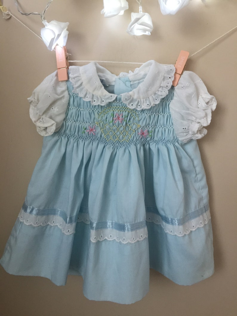364c040c4 Vtg Polly Flinders Hand Smocked Baby Blue Dress - Vintage Polly Flinders  Smocked Dress for Newborn - Size 0 to 3 Months