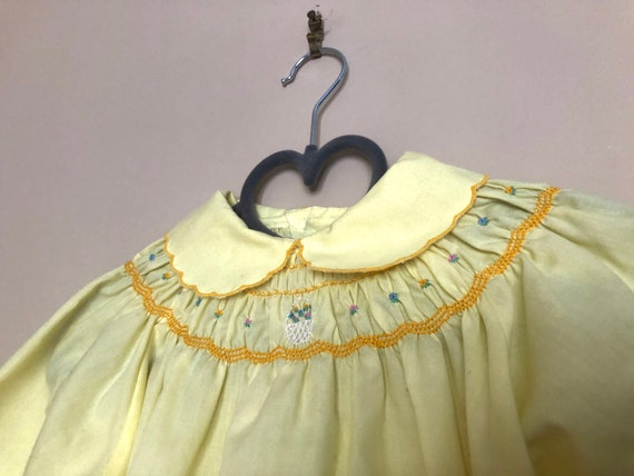Vintage Smocked, Embroidered Yellow Dress for Bab… - image 10