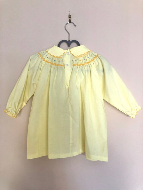Vintage Smocked, Embroidered Yellow Dress for Bab… - image 5