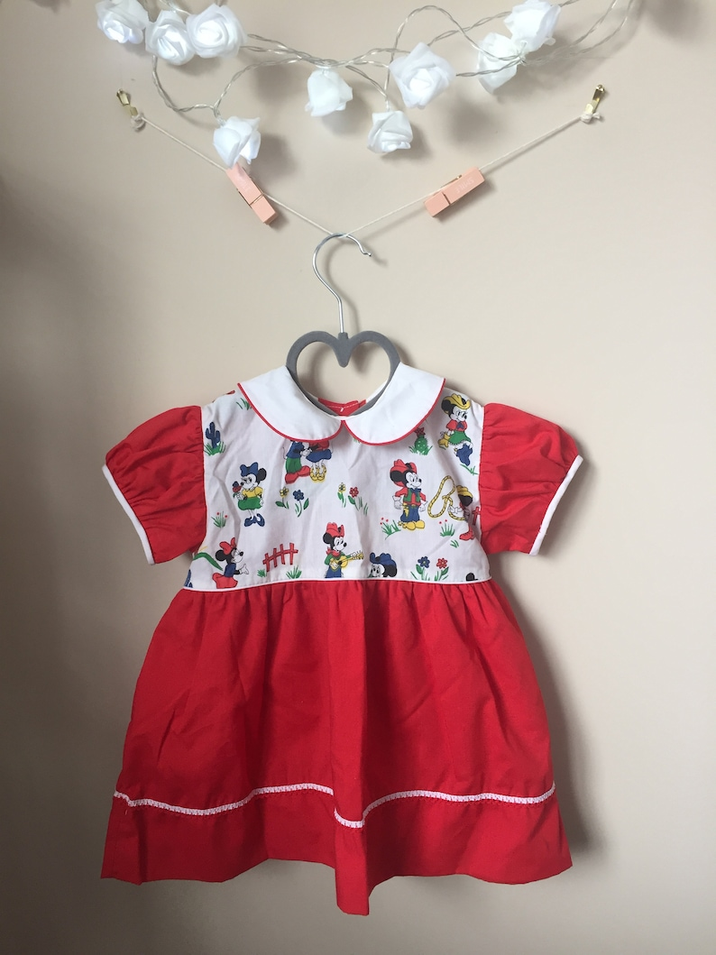 Size 24 Months Cutest Ever Vintage Mickey Minnie Mouse Dress for Baby Charming Originals