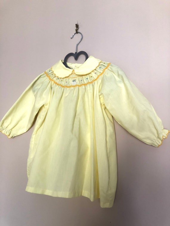Vintage Smocked, Embroidered Yellow Dress for Bab… - image 9