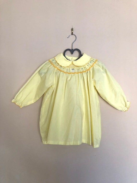 Vintage Smocked, Embroidered Yellow Dress for Bab… - image 2