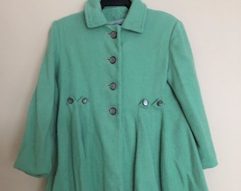 Adorable Vintage  1940s 1950s Wool Coat for Girl in Pistachio Green Wool with Lining, Pintucks, Button Details, See Measurements for Size
