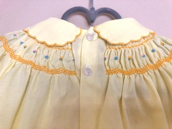 Vintage Smocked, Embroidered Yellow Dress for Bab… - image 6