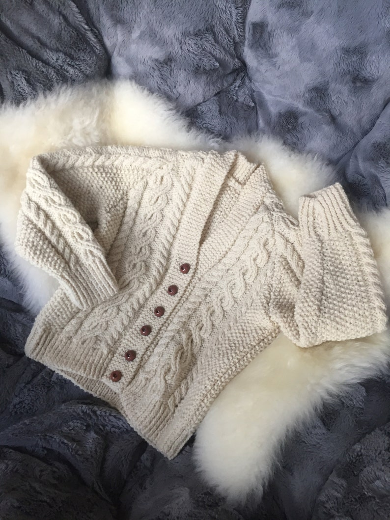 Vintage Hand Knit Cabled Fisherman Style Sweater Jumper for Baby See Measurements Beige Fishermen/'s Cardigan with Brown Buttons
