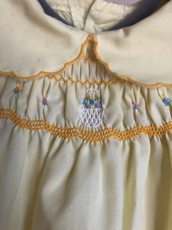 Vintage Smocked, Embroidered Yellow Dress for Bab… - image 4
