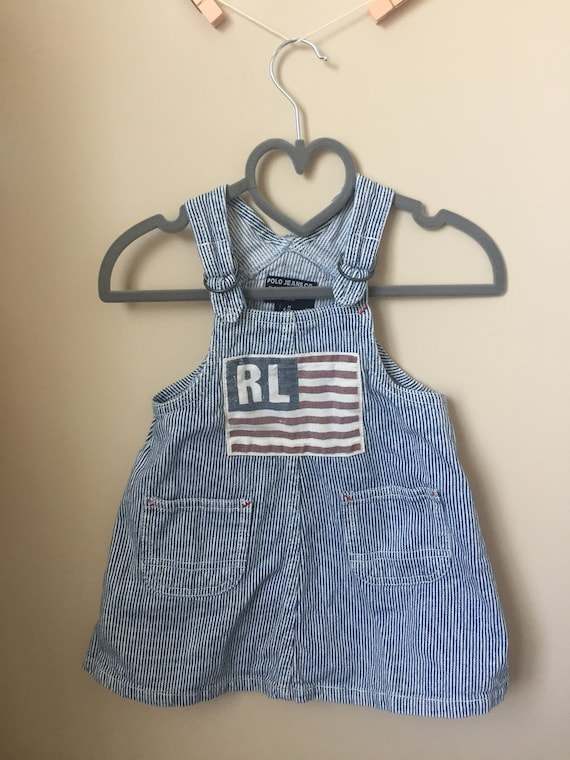 Vintage  Ralph Lauren Overalls Dress - Blue & Whit
